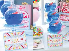 Blue rasberry jello with a swedish fish inside. Bowls from Michael's craft store. Could do it with the fish inside more too. Here used as: Win a Fish Bowl Game at Carnival Party