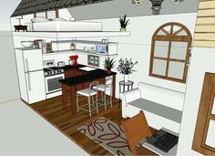 8x20 design, bath opposite end from kitchen. I love the kitchen.  wish I knew who designed it.