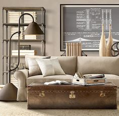 love the 30s-40s industrial feel of this room. Restoration hardware had a lot of great rooms in this same vein in their fall look-book. I really would have love to do something with this feel in my boys' room.