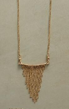 An elegant Dana Kellin fringe necklace with a subtly exotic air of grace., $198 in Sundance,gold filled