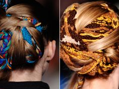 Thakoon F/W 2011.  How cool are these nomad-inspired updos, woven with colorful knitted pieces of yarn, at Thakoon?