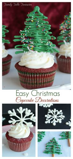 Give your cupcakes a festive sprinkle of fun with these Easy Christmas Cupcake Decorations! Your cupcakes will be the hit of the Holiday Party this year! Christmas Cupcakes Decoration, Christmas Cake Pops, Holiday Cupcakes, Christmas Goodies, Christmas Desserts, Simple Christmas, Christmas Treats, Holiday Treats, Holiday Recipes