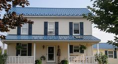 Metal Roofs work on all types of houses. Ameri-Cana Roof by Ideal Roofing. Metal Roof Houses, Metal Buildings, Blue Roof, Blue Shutters, Classic Building, Steel Roofing, Roof Panels, Old Farm Houses, Exterior House Colors