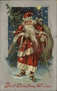 Christmas Santa Claus Toy Bag Embossed Silver Border c1910 Postcard | eBay