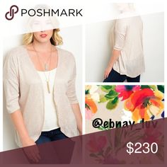 "✨Sneak Peak✨ Plus Tan open cardigan Light weight and airy for these summer nights. 3/4 sleeve open cardigan with a low hem line in back. 88% rayon and 12% polyester and 34"" in length. Sweaters Cardigans"