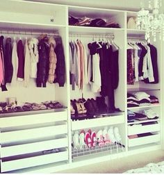I want to own a closet. I don't mean a wardrobe in my room. I mean a proper walk-in closet. Wardrobe Closet, Closet Bedroom, Walk In Closet, Bedroom Decor, White Wardrobe, Inspiration Dressing, Room Inspiration, Wardrobe Organisation, Closet Organization