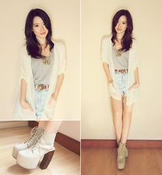 Jeffrey Campbell Jc Lana, Gowigasa Sheer Outerwear, Unbranded High Waist Jeans, Forever 21 Bow Necklace, Gowigasa Gray Tank Top