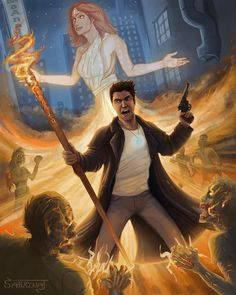 Finally posting my Dresden Files image from the book Dead Beat. Dresden faces off against Zombies with the help of the fallen angel and Denarian, Lasciel.