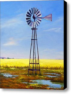 Western Windmill Stretched Canvas Print / Canvas Art By Dorothy Nalls