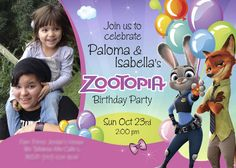 Zootopia Birthday Invitation for Sisters. Sample | Customize it with your daughters / siblings along the bunny Judy Hopps and the fox Nick Wilde. #zootopia #zootopiasiblings #zootopiasisters #zootopiainvitations #judyhoops #nickwilde #myheroathome