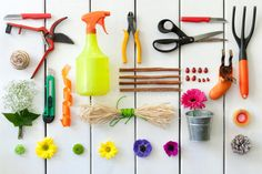 Gardening and florist tools. Close up of gardening and florist tools on white wo , Garden Tool Organization, Garden Tool Storage, Garden Tool Set, Lawn And Garden, Garden Tools List, Gardening Tools, Diy Wedding Backdrop, Tool Sheds, New Homeowner