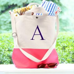 Personalized Color Dipped Canvas Totes - hostess gift