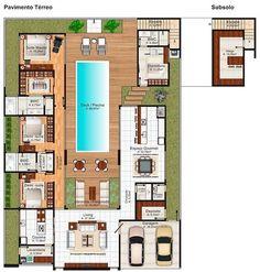 51 Super Ideas For Patio Floor Design Courtyards Floor Design, Patio Design, House Design, Dream House Plans, House Floor Plans, Villa Plan, Courtyard House Plans, Patio Flooring, Sims House
