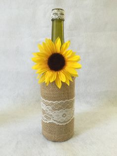 Burlap Lace and Sunflower Decorated Wine Bottle by AllBottledUpArt