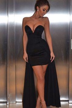 Black Asymmetrical Hem Off Shoulder Dress