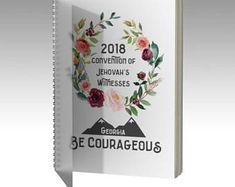 2018 être courageux Convention cahier à spirale | Géorgie | JW | Pioneer cadeau | JW cadeau | Carnet de notes de réunion | Convention pour ordinateur portable | Floral