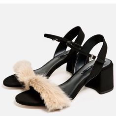 Nwt Zara Faux Fur Mid Block Heel Sandal Size 5