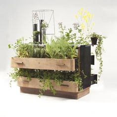 furniture repurposed as planters
