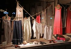 "our ""To The Beach"" window display.   Designers shown: Manuelle Guibal, Barbara Lang, Krista Larson, La Bottega di Brunella, 120 Percent Lino, Gianluca sandals, Super Sunglasses"