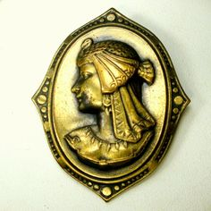 Brass Lady Cameo Pin Egyptian Revival by VintageStarrBeads on Etsy