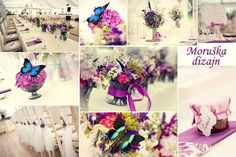 Wedding decoration with butterflies in shades of purple by Moruska Dizajn