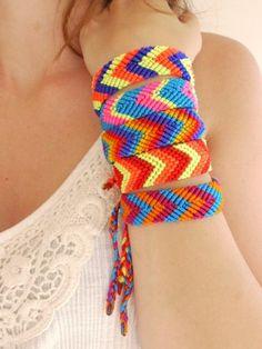 Friendship Bracelets Wide, Neon Tribal Style