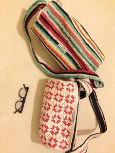 stripes or granny squares, take your pick, bags lined with grain sack fabric, both bags have inner zipped pockets 75 TL, 25