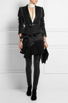 Haider Ackermann | Pleated wool-blend and twill mini skirt | NET-A-PORTER.COM