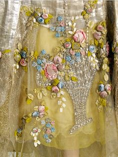 Incredible Ribbon Embroidery  --  Court Presentation Dress (detail) 1932-34 -- Boué Soeurs -- French