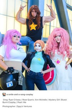 Young Greg, Rose Quartz, Pearl and Mystery Girl from Steven Universe
