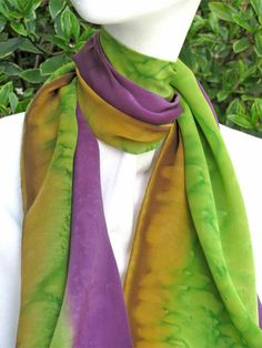 Stunning Crepe de Chine Hand Painted SILK SCARF by ShariArts, $46.00