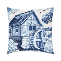 with Backing Printed Tapestry Canvas Throw Pillow 16/×16 Inches Needlepoint Kit European Quality Blue Irises