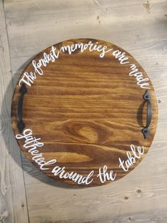 Round Wooden Tray, Cricut Ideas, Cricut Craft, Etsy Co, Grey Stain, Lazy Susan, Stain Colors, Wooden Signs, House Warming