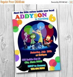 ON SALE 35% Inside Out Invitation - Inside Out Birthday Party Invitation - Inside Out Printables - Inside Out Party - Inside Out Birthday by CuteInvitation1 on Etsy https://www.etsy.com/listing/236731373/on-sale-35-inside-out-invitation-inside