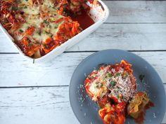 Tortellini lasagne uit het Makkelijk, Gezond & Gevarieerd weekmenu #3