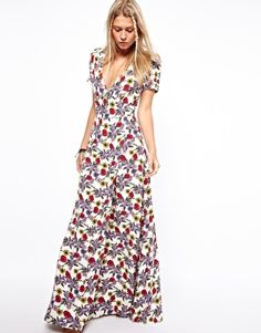 ASOS Maxi Dress In Floral Print With V Neck