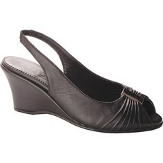 SALE - Womens Amalfi By Rangoni Nichol Wedge Heels Black Leather - Was $192.00 - SAVE $102.00. BUY Now - ONLY $89.95