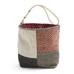 Small bucket bag LaTraviata Red grey Ivory Beige Canvas