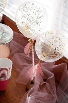 Glitter Balloon Garden Tea Party Centerpiece.