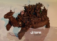 Atropos - A Steampunk Turtle Creation in Minecraft Breath taking. Minecraft Epic Builds, Minecraft Construction, How To Play Minecraft, Minecraft Creations, Minecraft Designs, Minecraft Projects, Minecraft Ideas, Minecraft Steampunk, Minecraft Medieval