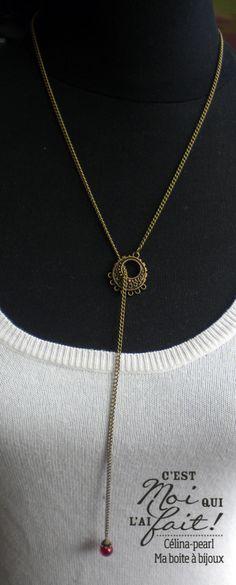 ***Parure*** Collier chaine et boucles d'oreille bronze & rouge : Collier par celina-pearl-petite-seance-shopping