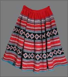 Skirts like these are the traditional attire of Miccosukee-speaking Seminole women for the New Year ceremony known as the Green Corn Dance. Eastern Woodlands Indians from the Northeast to the Southeas
