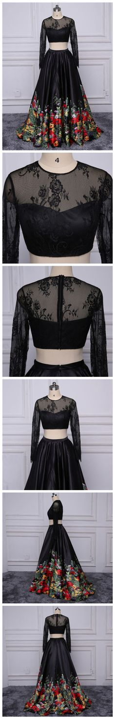 CHIC PROM DRESS,A-LINE LONG SLEEVE BLACK LACE APPLIQUE LONG PROM DRESS EVENING GOWNS AM250