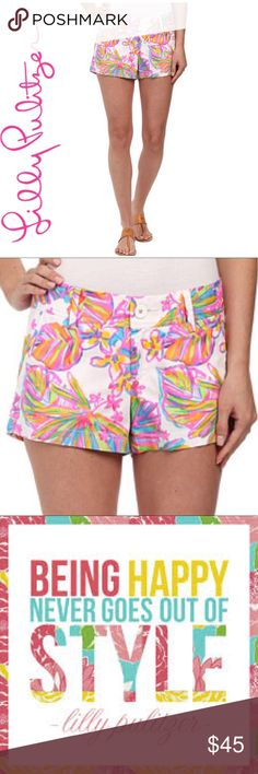 """Lilly Pulitzer 3"""" Some things in life are better shorter: acceptance speeches, lines at Starbucks, red lights...and printed shorts!   With a 3"""" inseam, this shortie-short will make those legs look like they go on for DAYS. Add a pop of print to these spring shorts and you're out the door.  3"""" Inseam, Zip Fly Short With Center Front Closure, Belt Loops, Slant Front Pockets And Back Welt Pockets.    (100% Cotton).   Machine Wash Cold.   Imported.  New, Never Worn, Without Tags Lilly Pulitzer…"""