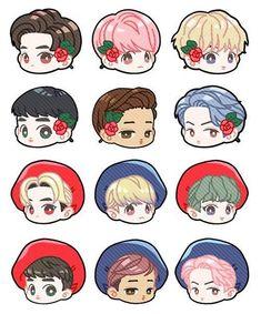 Exo Cartoon, Girl Cartoon, Exo Stickers, Exo Anime, Exo Fan Art, Cute Couple Art, Cute Chibi, Kpop Fanart, Cute Drawings