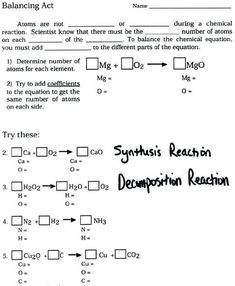 In this article, I will discuss the Balancing Chemical Equations Practice Worksheet Answer Key that you will need to use the Balancing Chemicals test. Chemistry Worksheets, Chemistry Lessons, Teaching Chemistry, Science Chemistry, Physical Science, Science Lessons, Science Experiments, Chemistry Labs, Earth Science
