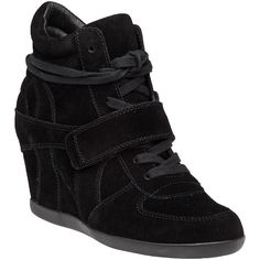 ASH Bowie Black Suede Wedge Sneaker ($215) ❤ liked on Polyvore featuring shoes, sneakers, black suede, hidden wedge shoes, black shoes, ash sneakers, wedge shoes and velcro sneakers