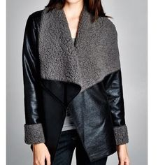 """Vegan Shearling Coat Jacket Nwot vegan leather shearling jacket perfect for the chilly evenings and days. Great with denim and leather . M approx 21"""" across bust line . Please comment for Personal listing . Vivacouture Jackets & Coats"""