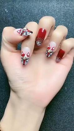 Nail Art Designs Videos, Nail Art Videos, Fall Nail Designs, Simple Nail Designs, Beautiful Nail Designs, Acrylic Nail Designs, Fingernail Designs, Acrylic Nails, Nagel Bling