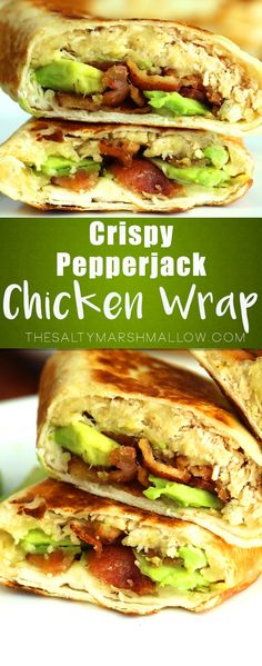 Jump to Recipe Print RecipeThese chicken wraps are crispy on the outside, full of tasty chicken, melty cheese, bacon, and creamy avocado on the inside! Crispy Pepper Jack Chicken Wraps will become a…More Paninis, Cooking Recipes, Healthy Recipes, Yummy Recipes, Healthy Food, Vegetarian Food, Vegetarian Sandwiches, Healthy Wraps, Going Vegetarian